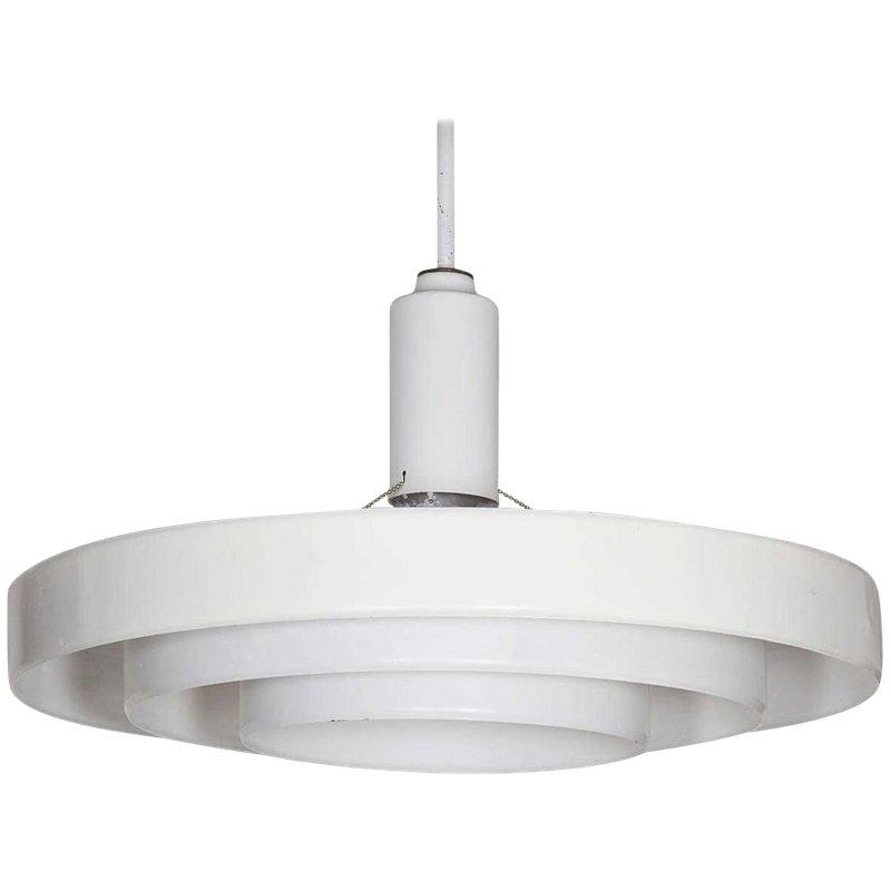Minimalist White Three Tier Saucer Pendant Light Fixture By