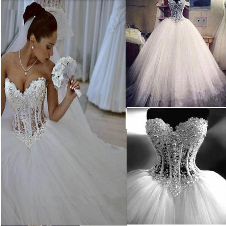 Sparkly Crystal Ball Gown Corset Wedding Dress with Beading Sweetheart  Tulle Princess Bridal Gown .WD0110 18da927795d2