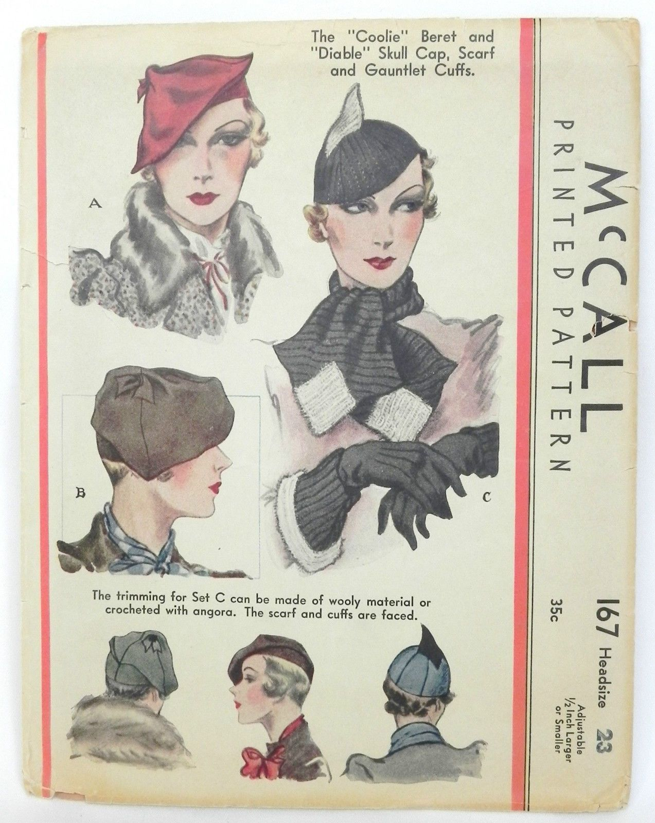 Vintage McCalls Millinery Beret Hat Pattern 1930s + Cuffs for Gloves ...
