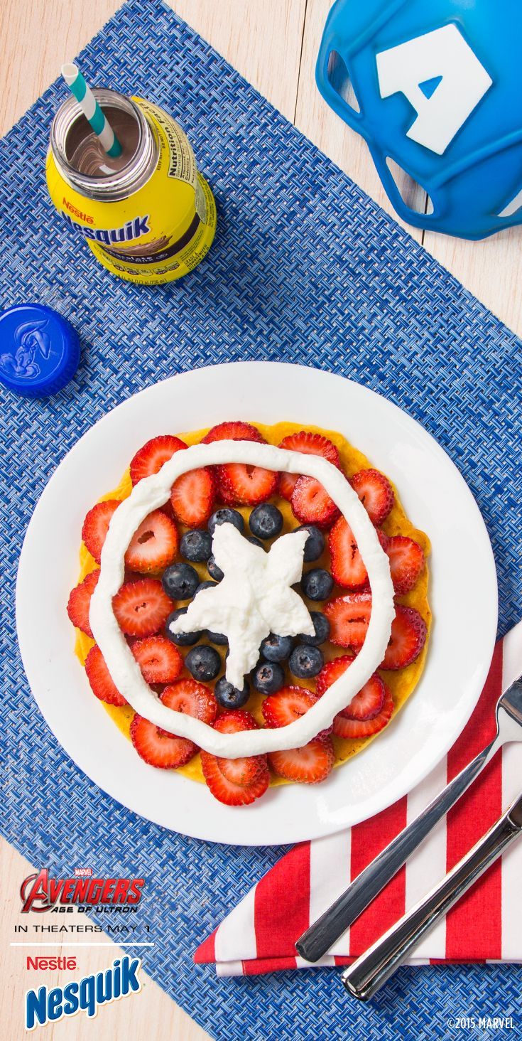 Marvel S Avengers Age Of Ultron Breakfast With Nesquik Recreate Captain America S Shield For Your Kids Breakfast By Breakfast For Dinner Food Dinner Themes