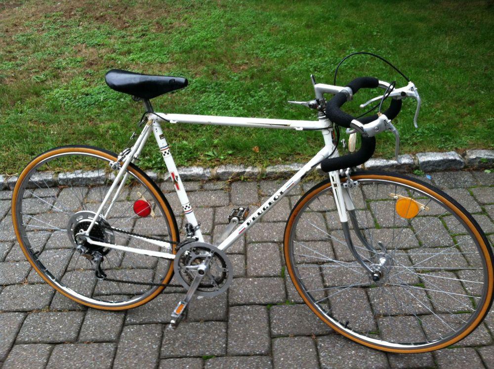 Peugeot mens white road touring racing bicycle mans 10 speed