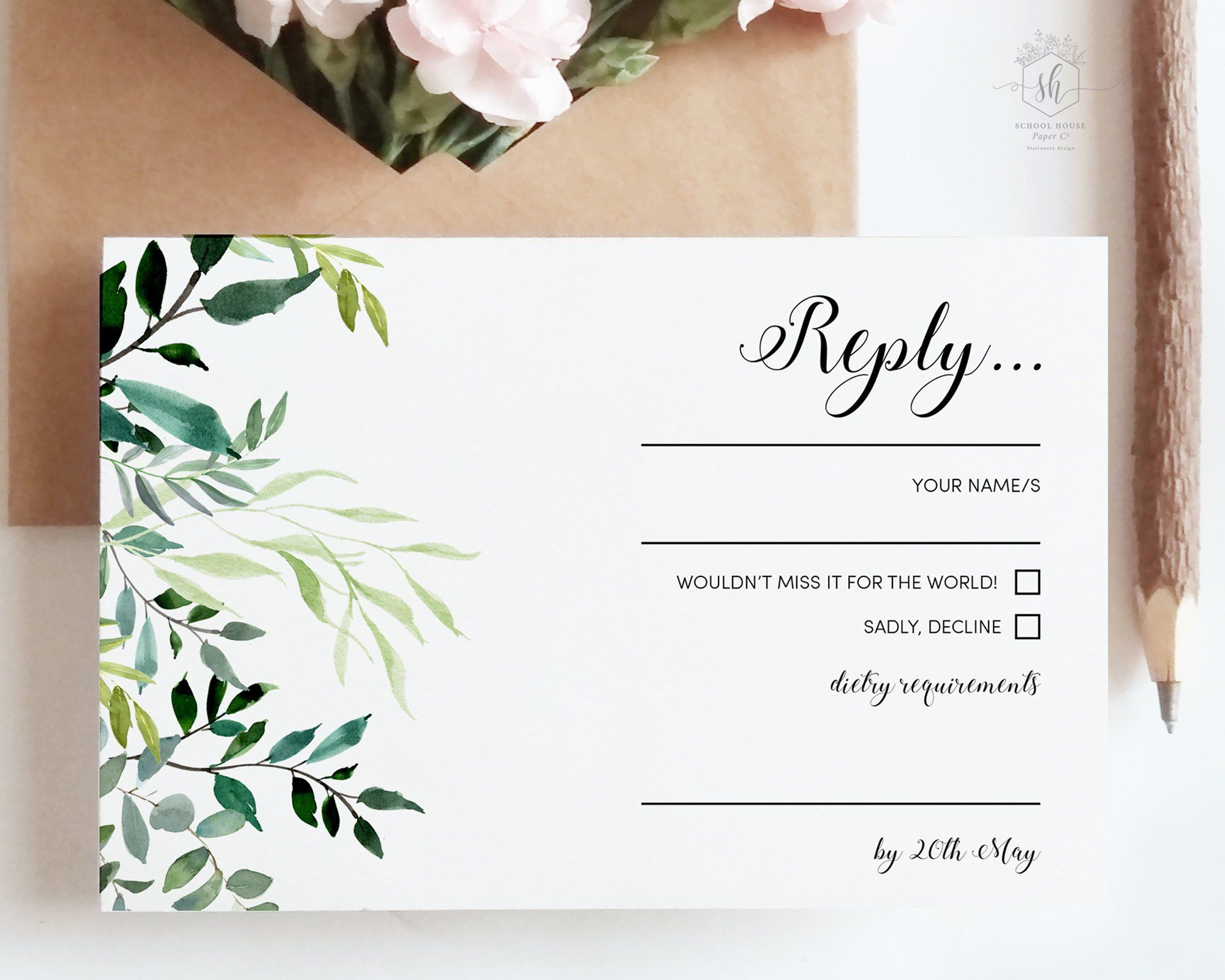 Wedding RSVP Template with eucalyptus greenery this