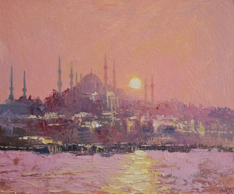 The Blue Mosque Istanbul Oil Painting By Roberto Ponte