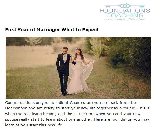 What to expect the first year of marriage