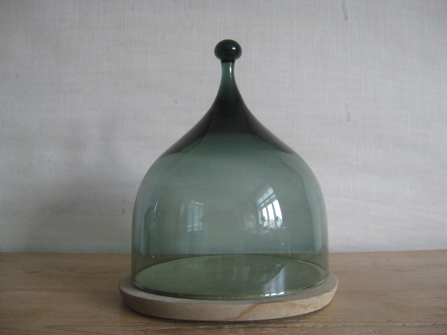 Hadeland Norway Cheese Dome Smoked Green Glass Wood
