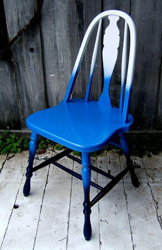 Blue Ombre Chair DIY from Jesse Dresbach of Nine Red Design at Design Sponge