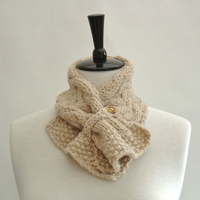 Ravelry: Neckwarmer Scarf with Basketweave cable pattern by Caroline Brooke