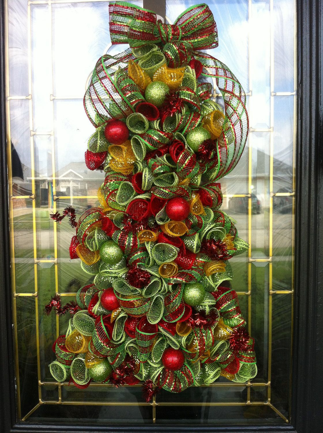 Deco Mesh Decorated Christmas Trees Poly Deco Mesh
