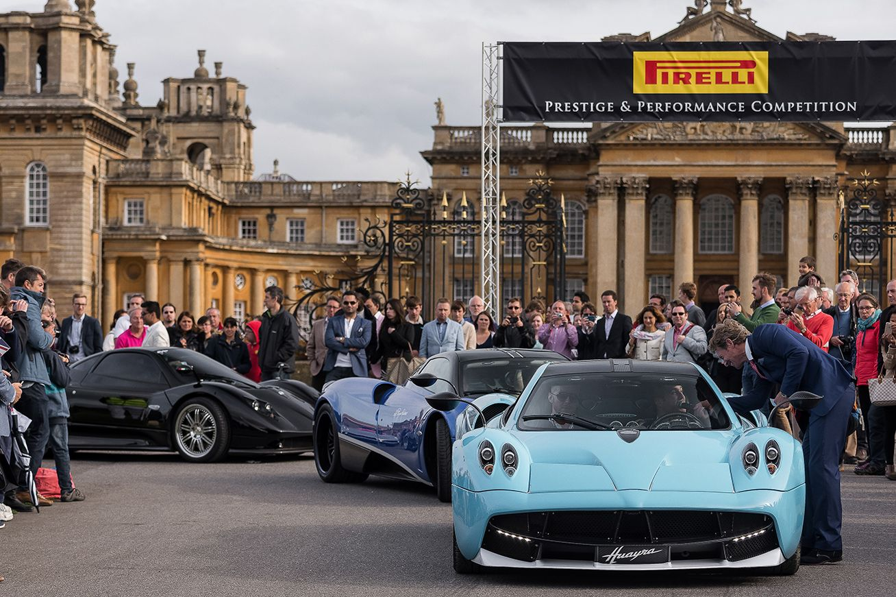 Pagani Huayra surrounded by crowds at the Pirelli Prestige ...