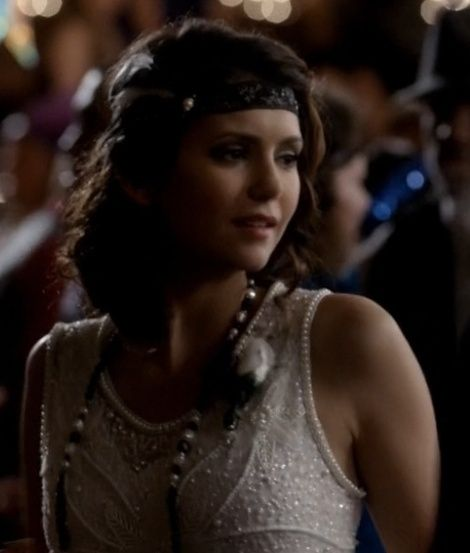Elena Gilbert and Unique Vintage Ivory Beaded the Isabelle Tank Flapper Dress Photograph