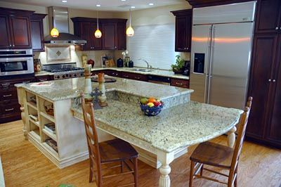 White Island Transitional Kitchen Dark Cabinets And Granite ...