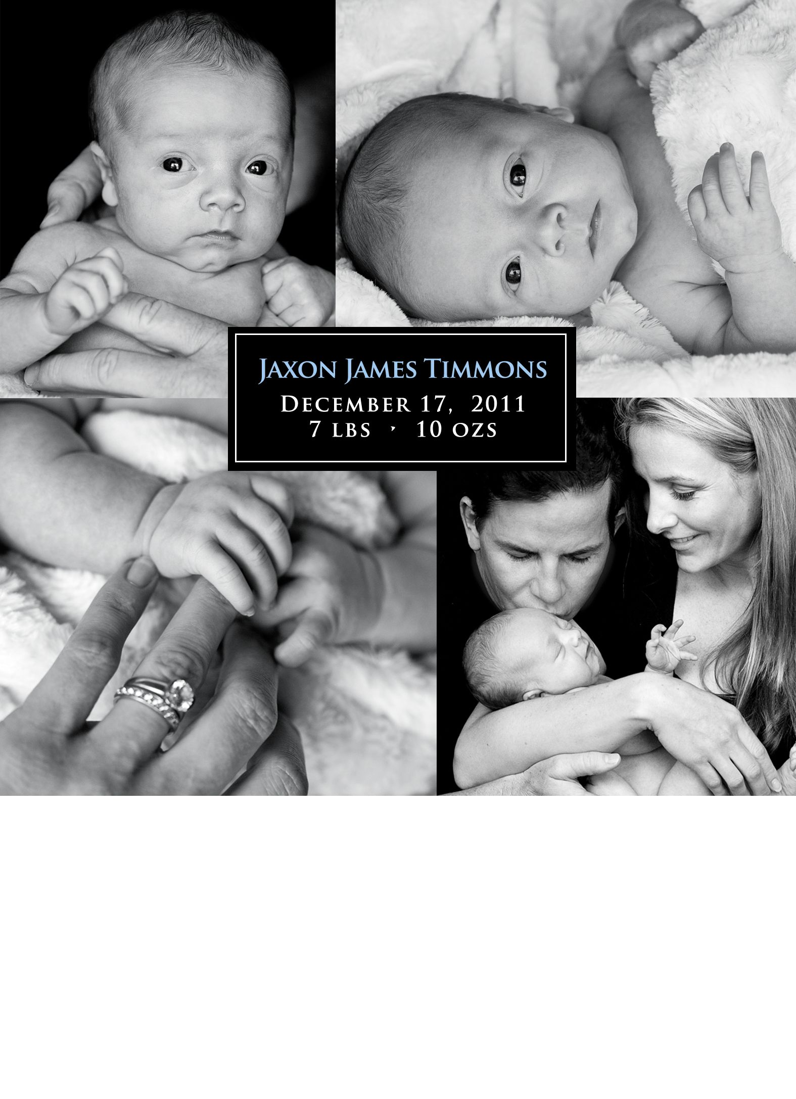 Custom Designed Birth Annoucements Photographs And