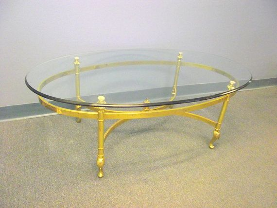 Ethan Allen Solid Brass Coffee Table   Hollywood Regency Beveled Glass Top  Oval Cocktail Italian French Queen Anne Legs #2