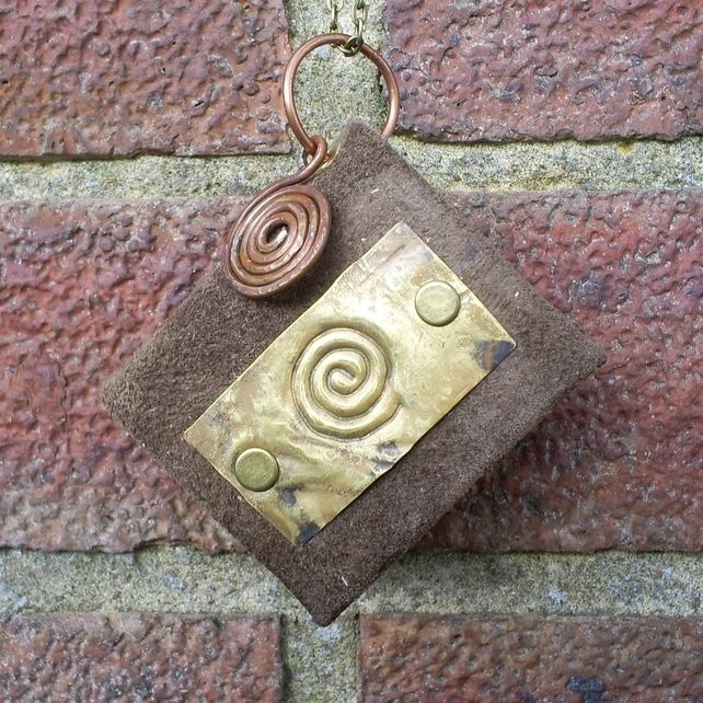 brass and leather bound little journal pendant £15.00