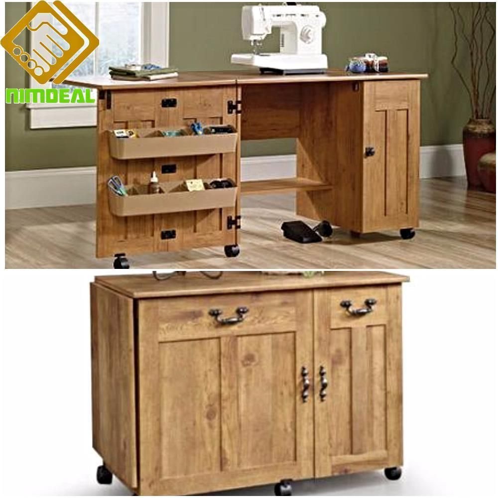 Sewing machine desk craft tools storage table folding drop leaf portable cabinet desk crafts - Craft desk with storage ...