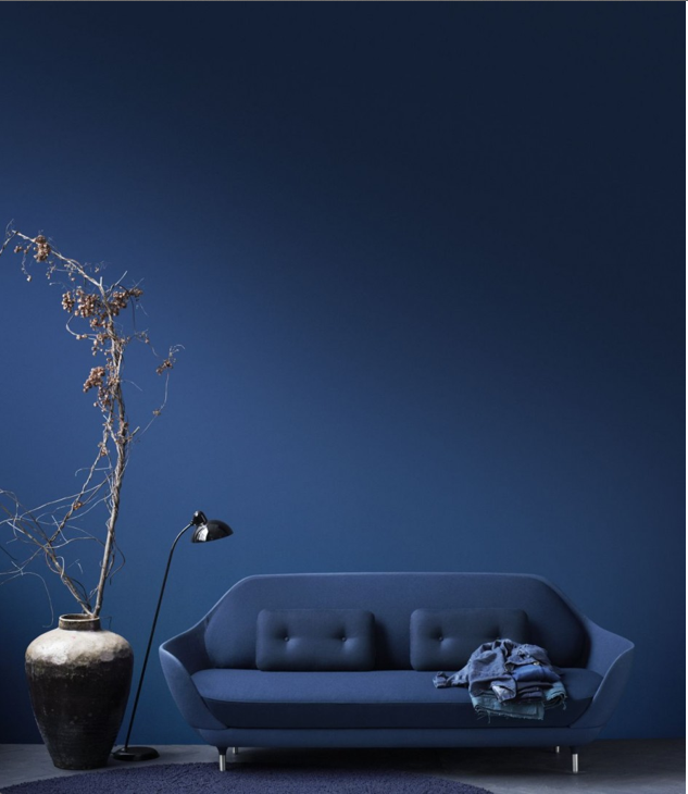 Jaime Hayon's Favn sofa for Fritz Hansen, in my colour-of-the-moment, indigo (they call it steel cut blue). LOVE!