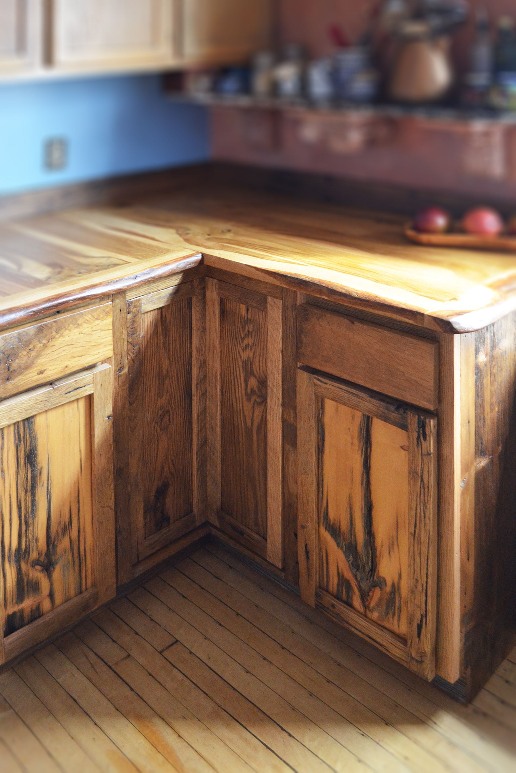 Custom Made Live Edge Oak With Rustic Front Facing Kitchen ...
