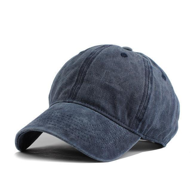 Men Plain Washed Cotton Cap Style Denim Adjustable Baseball Cap Blank Solid Hat