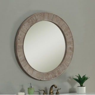 Sunjoy Recycled Fir Wood Wide Border 27 Inch Round Mirror Ping