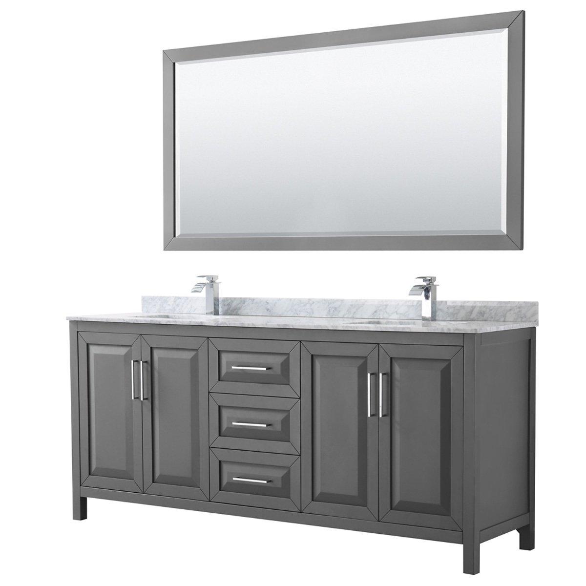 Daria 80 Inch Dark Gray Double Vanity Marble Top 70 Inch Mirror