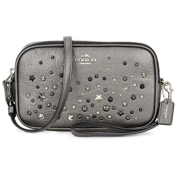 Coach Gunmetal Studded Leather Cross Body Bag 300 Liked On Polyvore Featuring