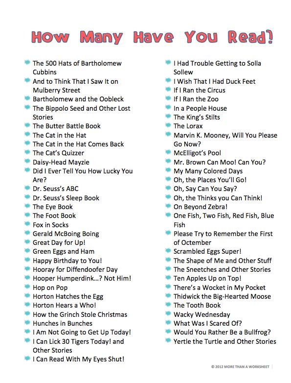 Dr Seuss Book Lists Dr Seuss Teaching Ideas Pinterest Dr