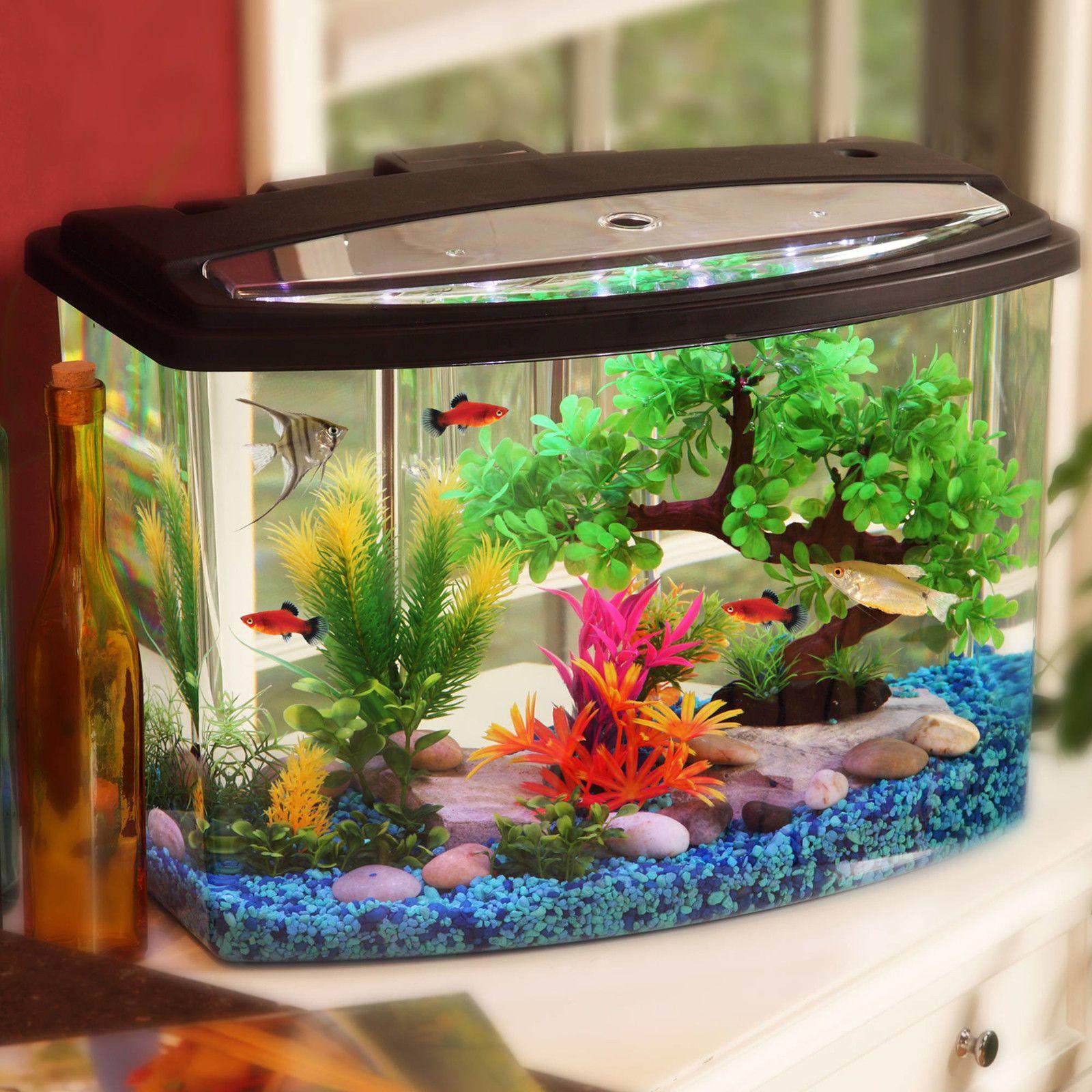 Hawkeye NEW! Aquarium 7 Gallon Tank Fish Kit LED Light Colors Power ...