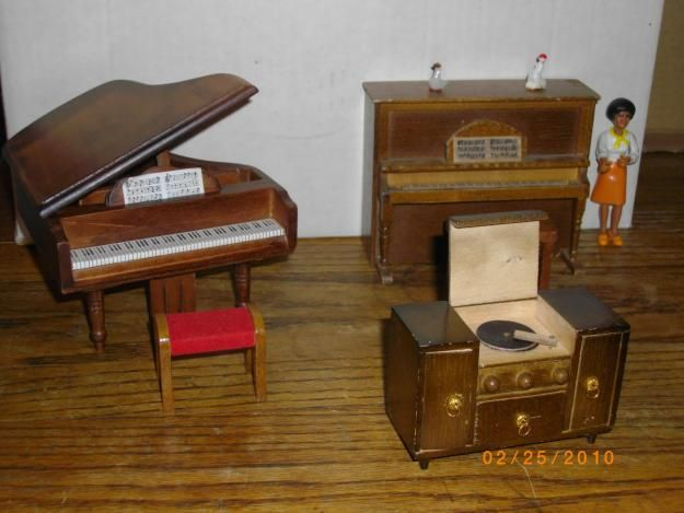 miniature vintage toy 5660s style record player upright piano