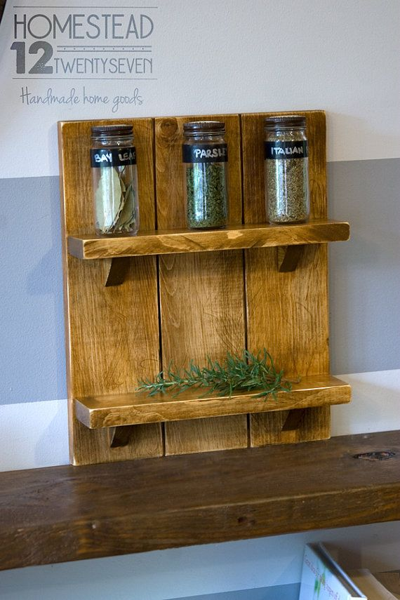 Wood Spice Rack For Wall Spice Rack Wall Hanging Farmhouse Style Woodhomestead1227  Etsy