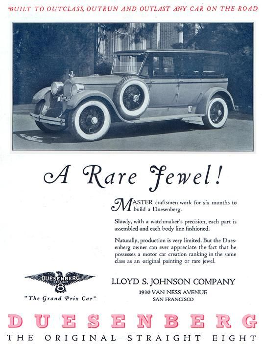 Reproduction of a 1925 Duesenberg automobile advertisement (With ...