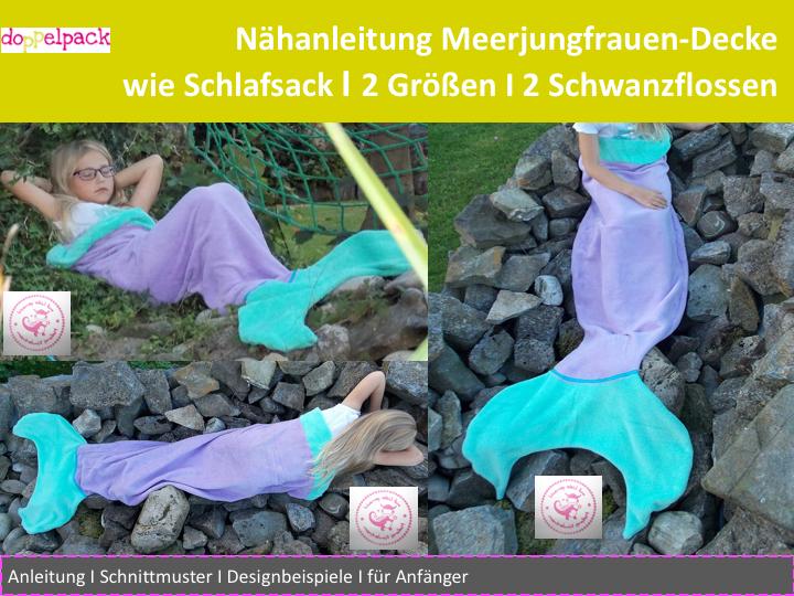 Meerjungfrauen-Decke, Meerjungfrau, Nähanleitung   Schwanzflosse ...