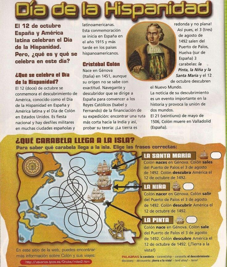Video Resumen Del Descubrimiento De America Poesia De Cristobal Colon Dia De La Hispanidad Dia De La Cultura Textos En Espanol