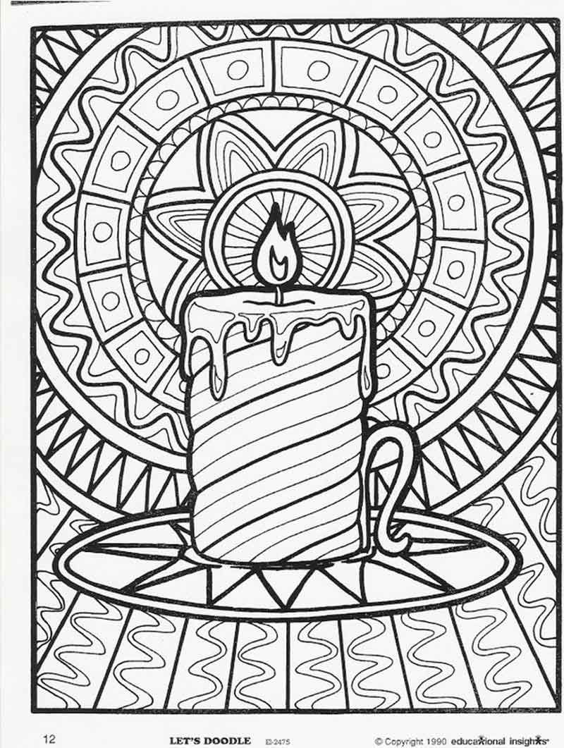 Candle Scene Christmas Coloring Pages For Adults from Adult ...