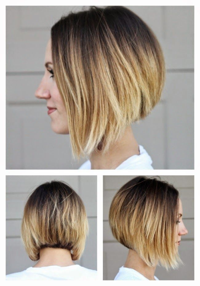 Short angled ombre bob from all sides short hair ideas - Carre plongeant ombre ...