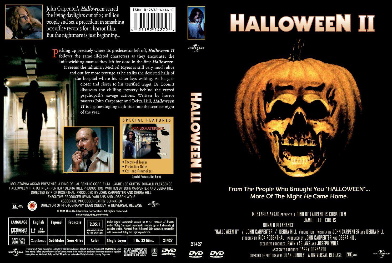 Halloween II (1981) DVD cover Michael myers halloween