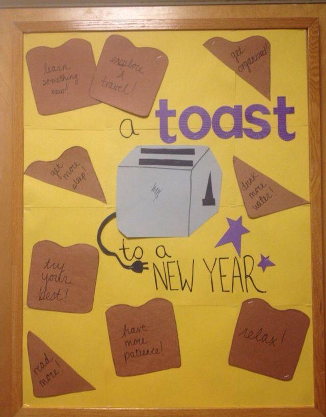 Toast to a New Year Bulletin Board … | Birthday bulletin ...