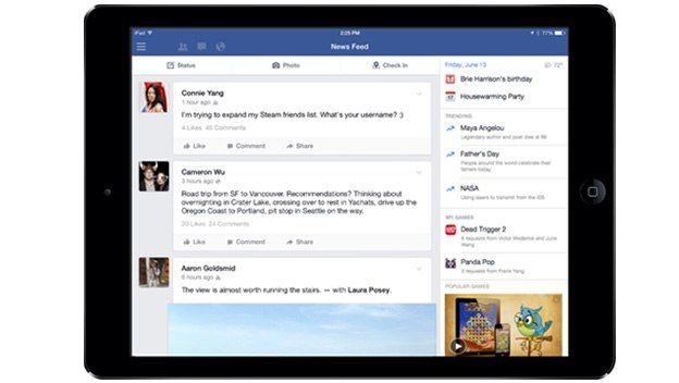 Facebook para iPad añade columna de Trending Topics