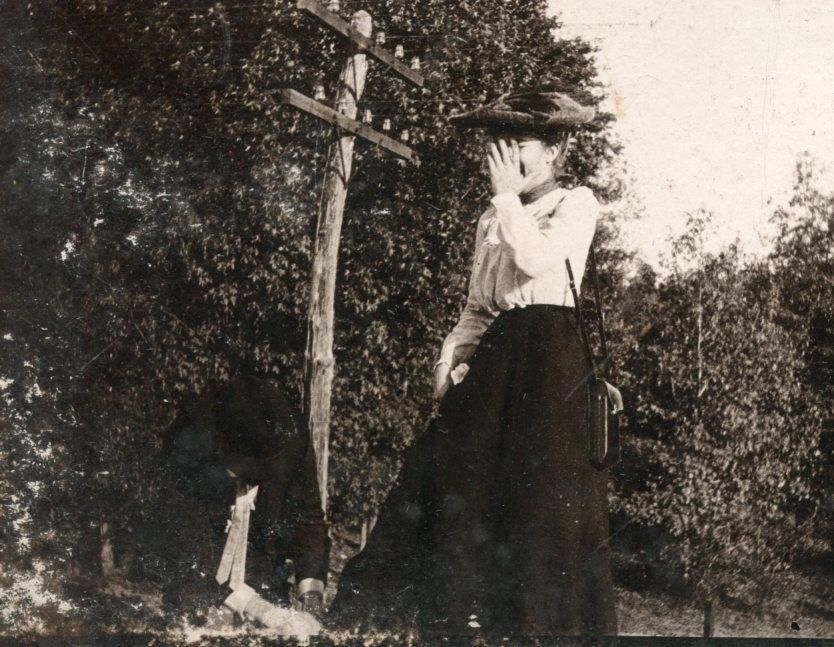 VICTORIAN WOMAN LAUGHING, I CAN'T LOOK c Late 1800's Early 1900's