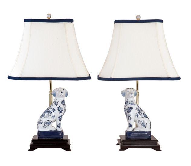 ANDREA By SADEK BLUE U0026 WHITE PORCELAIN DOG LAMPS PAIR. White PorcelainTable  Lamp