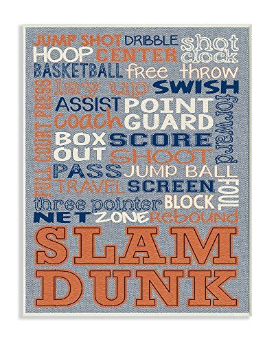 The Kids Room By Stupell Basketball Typography Denim Feel Wall