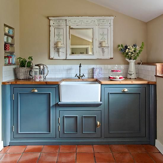 28 Antique White Kitchen Cabinets Ideas In 2019: Terracotta Blue Kitchen - Google Search In 2019