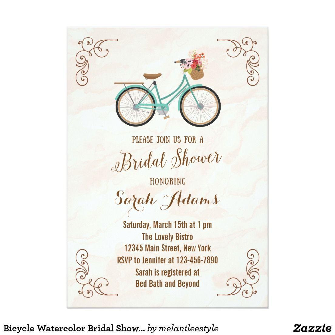 Bicycle watercolor bridal shower invitation shower invitations bicycle watercolor bridal shower invitation filmwisefo Choice Image