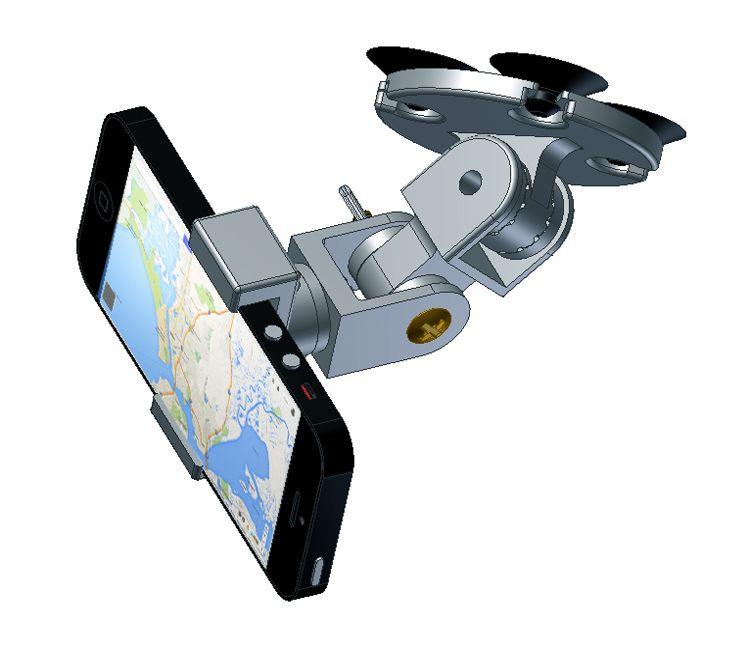 CAD model of an iPhone holder I designed to mount inside a car