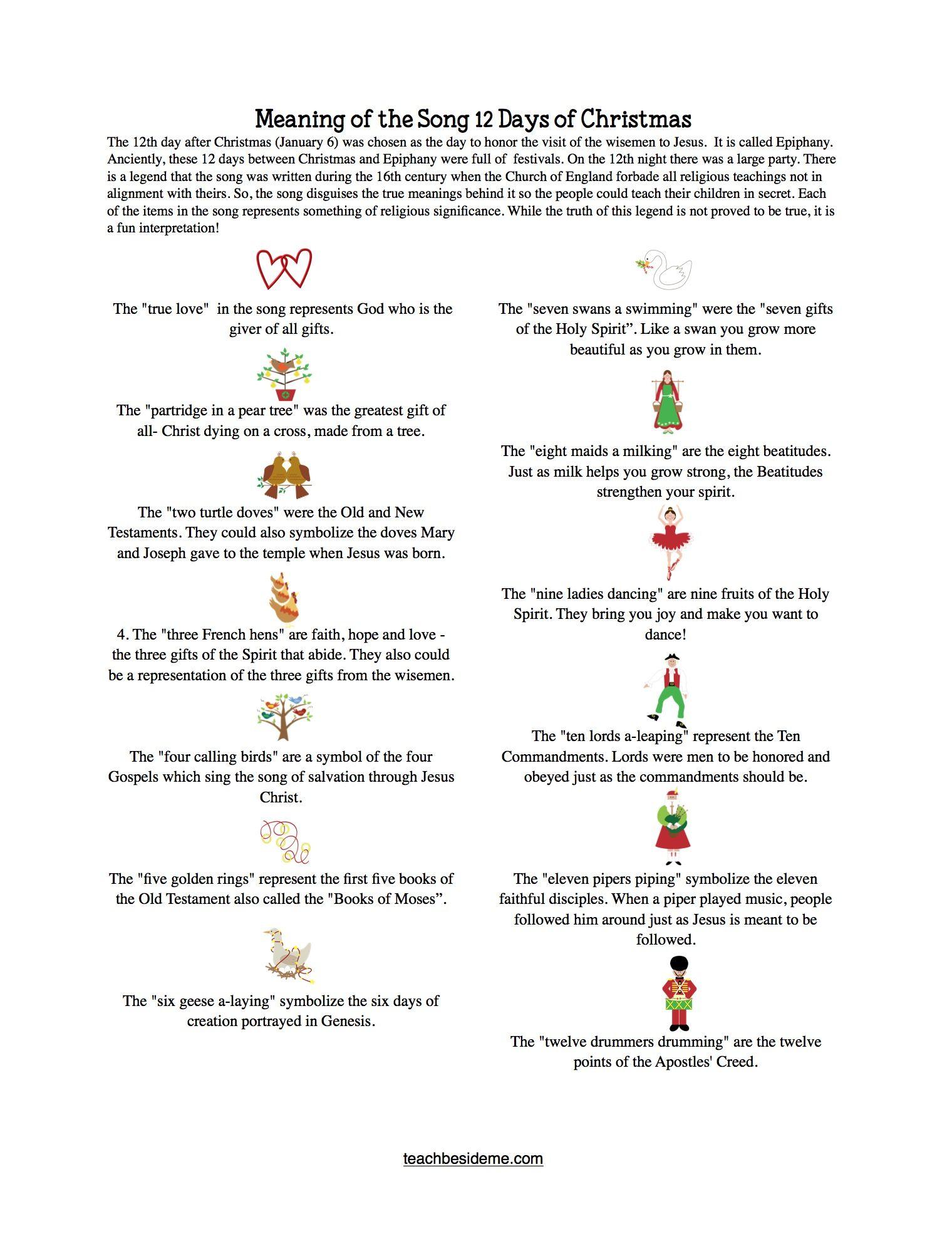 12 Days of Christmas Printable Game   Songs, Holidays and ...