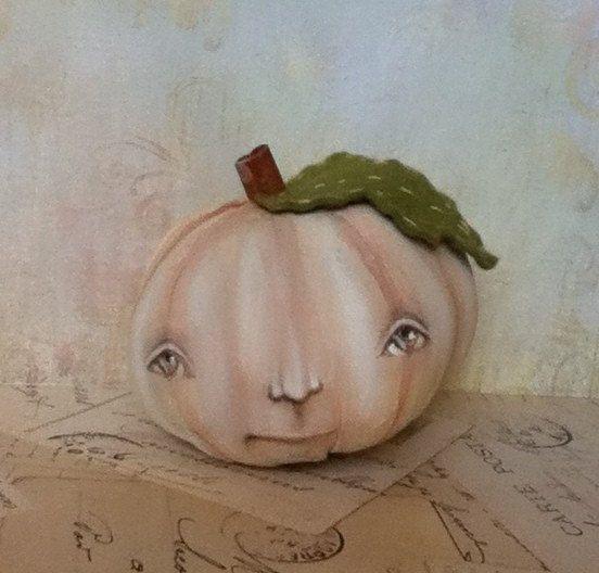 """Folk Art Autumn Halloween Pumpkin Doll """"Millie""""."""