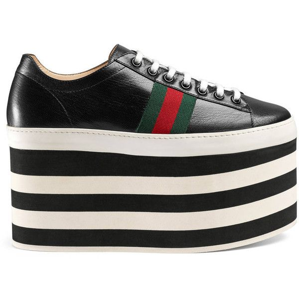 a39924f04e84 Gucci Leather Low-Top Platform Sneaker ( 800) ❤ liked on Polyvore featuring  shoes