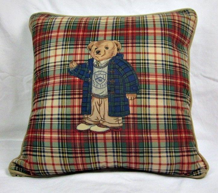 Teddy Bear Pillow Ralph Lauren Polo Plaid with insert Vintage