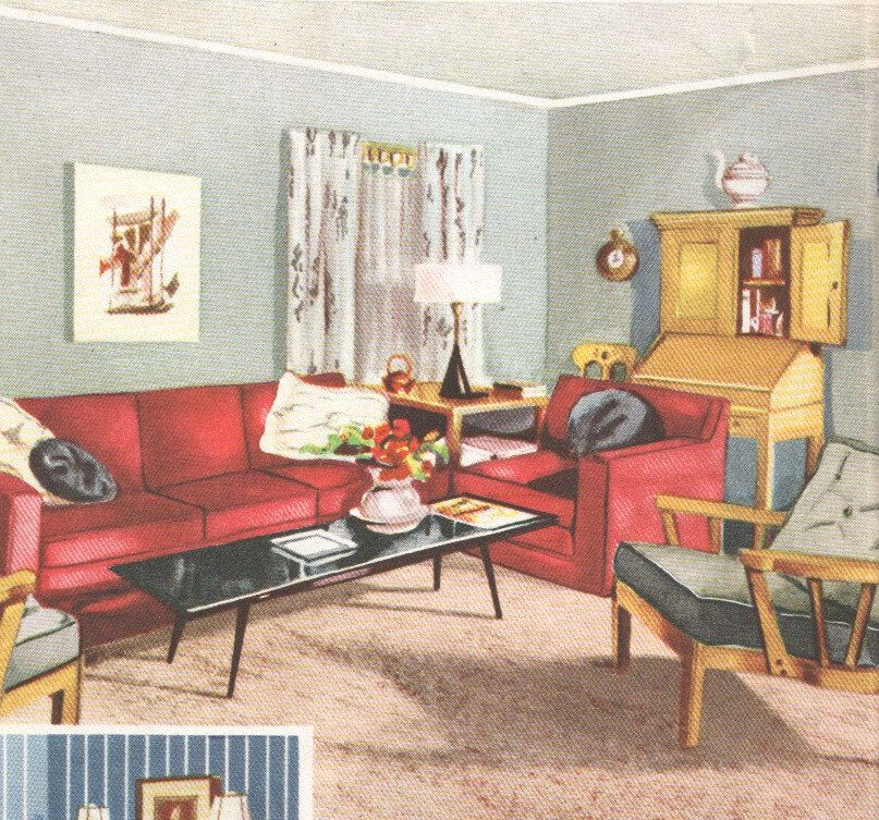 Living Room Mid Century Decor 48s House Interior Design Furniture Classy 1950S Interior Design