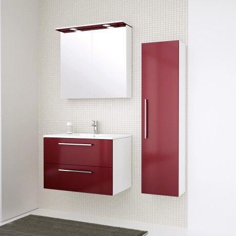 Albero Design Milano LED Spiegelschrank, rot glänzend - 91 x 72cm