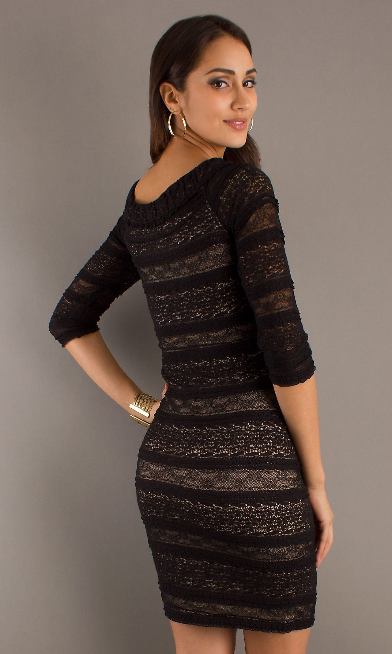 Dress short black dress with 34 length sleeves simply